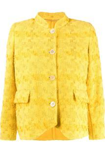 Ermanno Scervino Jaqueta Slim Com Bordado - Amarelo