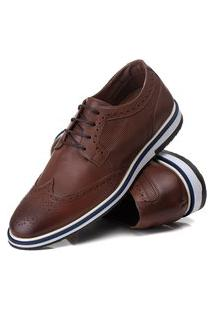 Sapato Oxford Batta Shoes Couro Com Texturas Confort Marrom