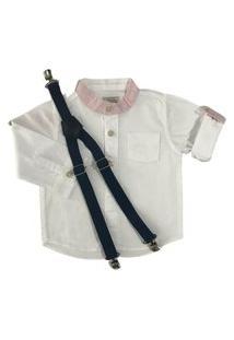 Camisa Branca Com Suspensório Mabu Denim Infantil Menino