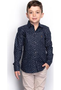 Camisa Social Juvenil Menino Manga Longa Naval Botão Casual