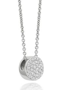 Monica Vinader Colar Com Diamante 'Fiji Button' - Prateado