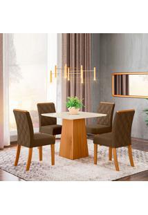 Conjunto De Mesa Com 4 Cadeiras Para Sala De Jantar Tokio-Henn - Nature / Off White / Bege