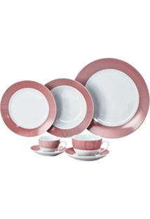 Aparelho De Jantar De Porcelana Super White Linhas Vermelhas Wolff – 42 Peças