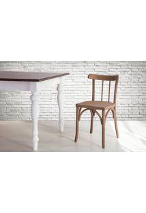Cadeira De Madeira Tipo Restaurante Torneada Encosto E Assento Anatômico Nogueira Justine - 43X47,5X78,5 Cm