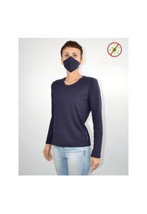 Camiseta Antiviral Na Cor Marinho Feminina