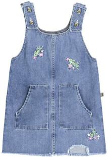 Jardineira Jeans Infantil Menina Com Bordados Puc