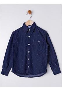 Camisa Jeans Manga Longa Infantil Petit Kid Masculina - Masculino-Azul