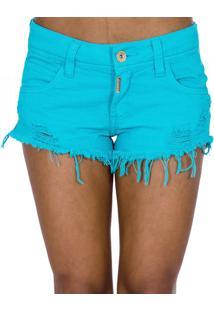 Shorts Sarja Destroyed Desfiado Color Block Colcci