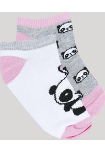 Kit De 2 Meias Infantis Soquete Estampadas Panda Multicor