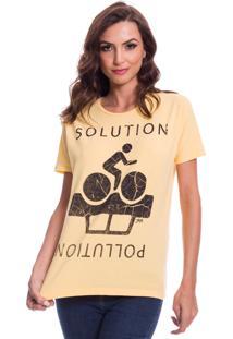 Camiseta Jazz Brasil Solution Amarela - Amarelo - Feminino - Algodã£O - Dafiti