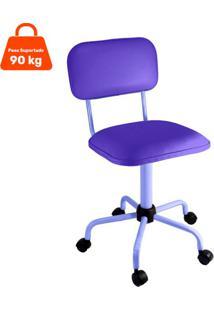 Cadeira De Escritório Secretária Color Fixa Corano Roxo