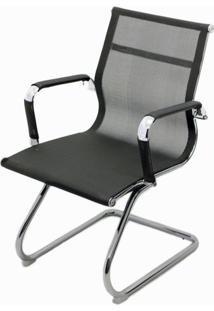 Cadeira Eames Telinha Fixa Preta Cromada - 29077 - Sun House