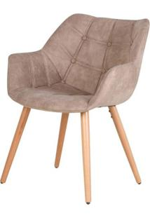 Cadeira Camila Assento Suede Cor Caqui Vintage Com Base Palito - 45033 - Sun House