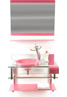 Gabinete De Vidro 70Cm Para Banheiro Turquia Rosa Ekasa