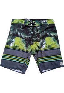 Bermuda Boardshort Stretch Wss Tropical Skull Masculina - Masculino-Verde