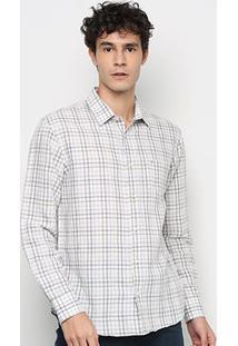 Camisa Xadrex Vr Manga Longa Masculina - Masculino-Cáqui