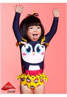 Camiseta Manga Longa Pinguim Baby 3 A 6