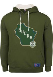 Casaco Moletom Milwaukee Bucks Canguru Logo - Nba - Kanui