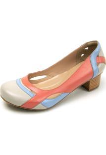 Sapato Miuzzi Peep Toe 3121 Off White - Azul Bebe - Goiaba