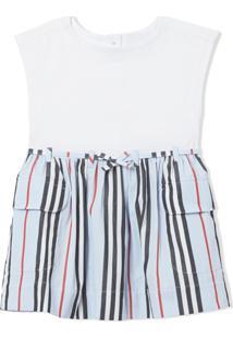 Burberry Kids Vestido Casual Icon Com Listras - Branco