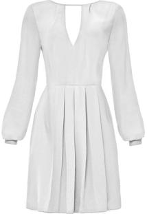 Vestido Manga Longa Evasê Branco Off White - Lez A Lez