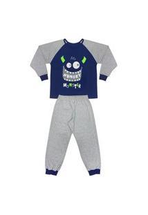 Pijama Juvenil Look Jeans Monstro Longo Mescla