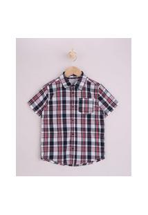 Camisa Infantil Estampada Xadrez Manga Curta Vermelha