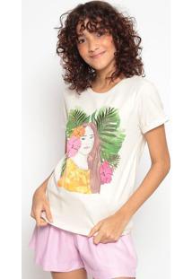 Camiseta Com Bordadobege & Verdehering