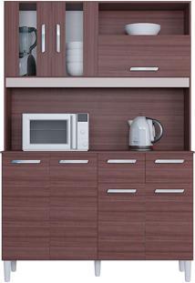Cozinha Compacta Flex Com 7 Portas E 2 Gavetas Ellen – Poquema - Capuccino / Offwhite / Amarelo
