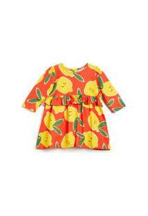 Vestido Para Bebê Fábula Com Mangas Longas Em Malha De Algodão Na Estampa Limonada Est Limonada Laranja Papaya - P