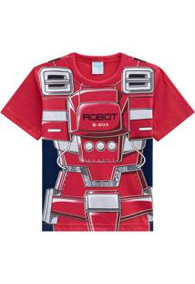 Camiseta Pijama Infantil Masculina Vermelho