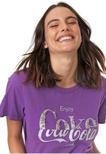 Camiseta Coca-Cola Jeans Aplicações Roxa