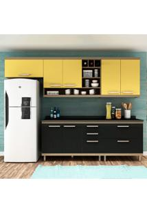 Cozinha Compacta New Vitoria 11 Avelã Tx/Onix/Maracujá - Hecol