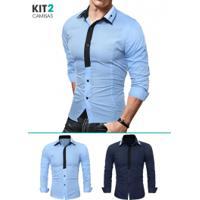 2fe7338614882 Chic Best. Kit 2 Camisas Sociais Masculina ...