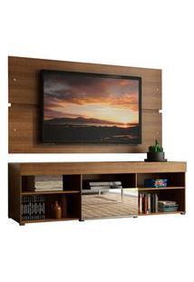 Rack Com Painel Para Tv Até 65 Polegadas Madesa Dublin 1 Porta Com Espelho - Rustic Marrom