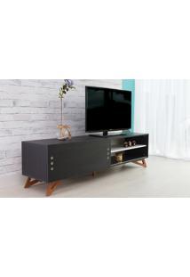 Rack Para Tv Preto Moderno Vintage Retrô Com Porta De Correr Preta Freddie - 180X43,6X48,5 Cm