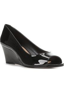 Peep Toe Shoestock Anabela Verniz Salto Médio - Feminino-Preto