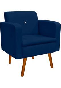 Poltrona Decorativa Emília Suede Azul Marinho Com Strass - D'Rossi