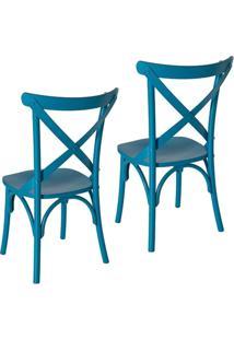 Kit 2 Cadeiras Paris Estilo Vintage Em Madeira Maciça Pintura Laca Azul