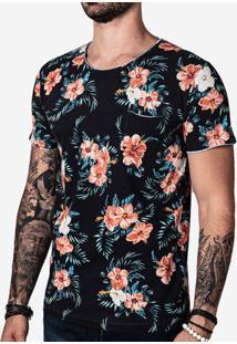 Camiseta Floral Gola Rasgada 100716