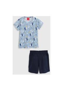 Pijama Tricae Curto Infantil Urso Azul/Azul-Marinho