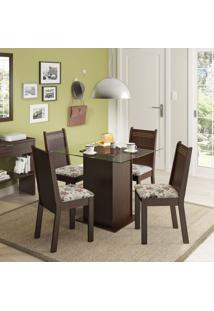 Conjunto De Mesa Com 4 Cadeiras Lucy Tabaco E Floral Hibiscos