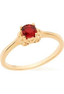 Anel Skinny Ring Solitário Com Cristal Redondo Rommanel - Feminino