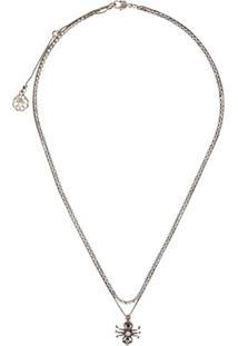 Alexander Mcqueen Crystal-Spider Necklace - Prateado