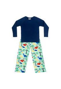 Pijama Bebê Moletinho C/ Tecnologia Thermo Dry Dino Verde Everly