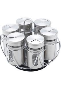 Conjunto 7 Peças Para Temperos De Aço Inox Pointer - Bon Gourmet - Rosê