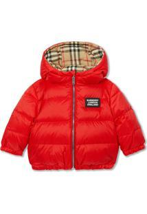 Burberry Kids Reversible Vintage Check Down-Filled Puffer Jacket - Vermelho