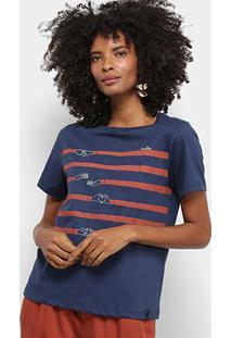 Camiseta Cantão Estampa Coração Feminina - Feminino-Azul Escuro