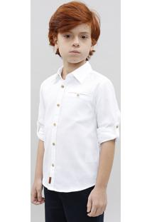 Camisa Infantil Texturizada Manga Longa Gola Padre Off White