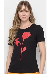 Camiseta Vide Bula Flower Feminina - Feminino-Preto